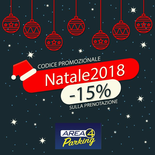 Sconto di Natale del 15% da Fiumcino Area 4 Parking per tutti i clienti che prenotano online col codice promo: Natale2018.